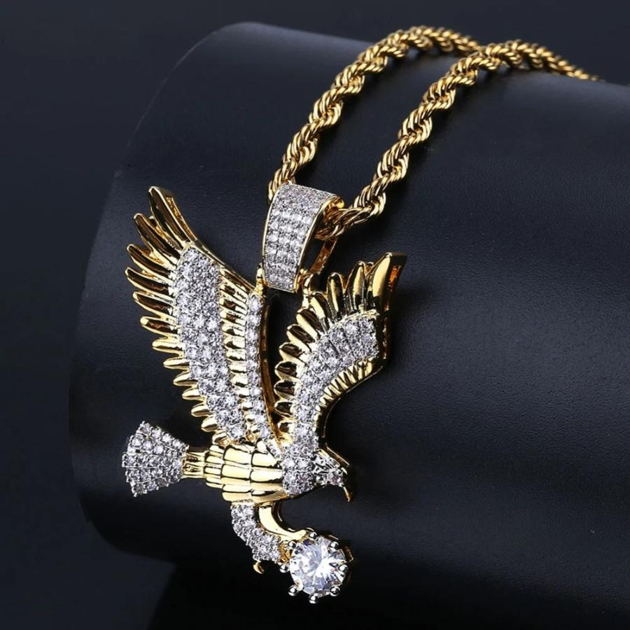 'Imperial Eagle' Iced Out Gold Eagle Pendant - Drip For Men