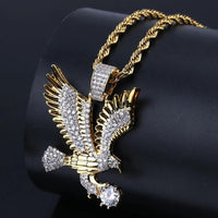 'Imperial Eagle' Iced Out Gold Eagle Pendant