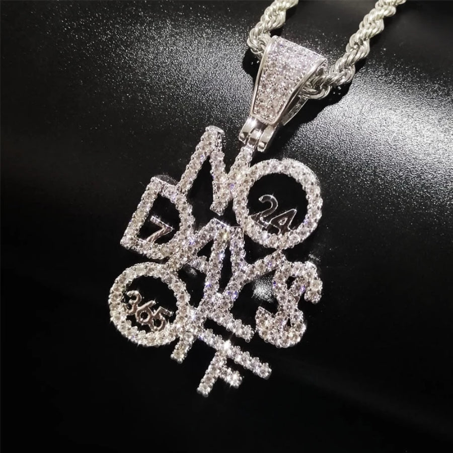 'No Days Off' Gleaming White Gold Pendant - Drip For Men