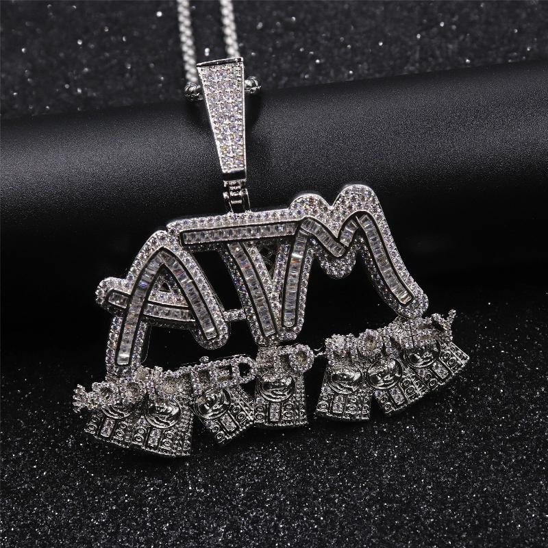 'ATM' Addicted To Money White Gold Pendant - Drip For Men