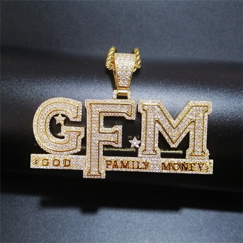 'God Family Money' GFM (Gold/White Gold) Pendant - Drip For Men