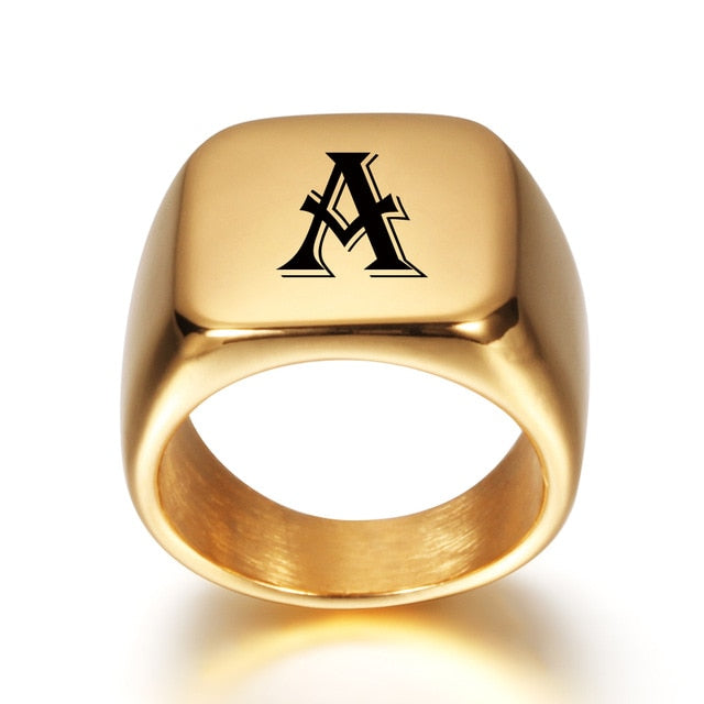 'Personalized Engrave Ring' High Gold Tone - Drip For Men