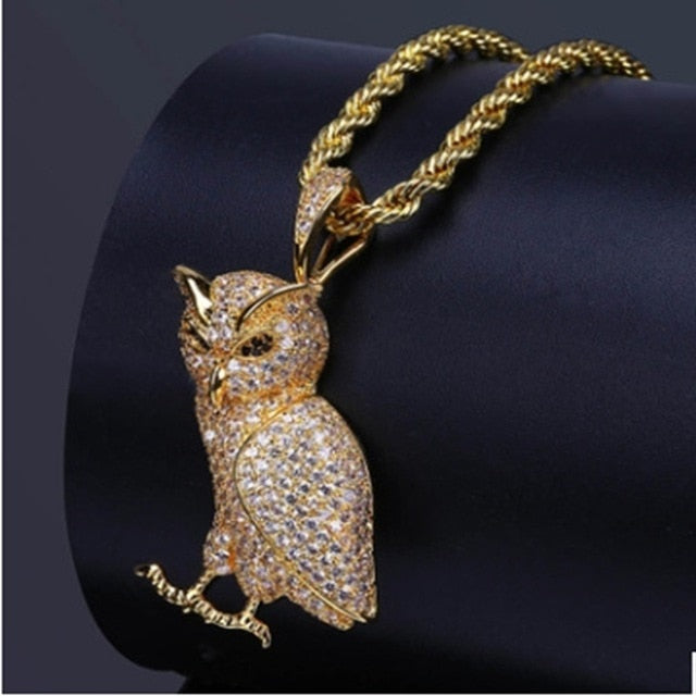'Iced Out OVO' Gold/White Gold Owl Pendant - Drip For Men