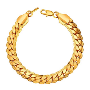 'Python B' Dense (Gold/White Gold/Rose Gold) Cuban Link Bracelet - Drip For Men