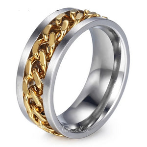 'Spinners' Gold and White Gold Ring - Drip For Men