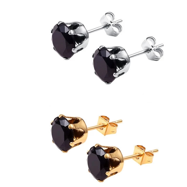 'Crystal Drip' Gold and White Gold Earrings - Drip For Men