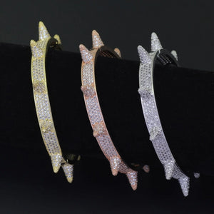 'Spike' Iced Out (Yellow/White/Rose Gold) Bracelet - Drip For Men