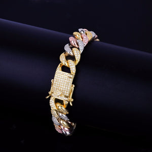 'Prismic B' 12mm Tri-Colored Bracelet - Drip For Men