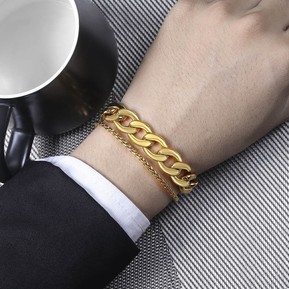 'Double Play' Gold and White Gold Double Cuban Link Bracelet - Drip For Men