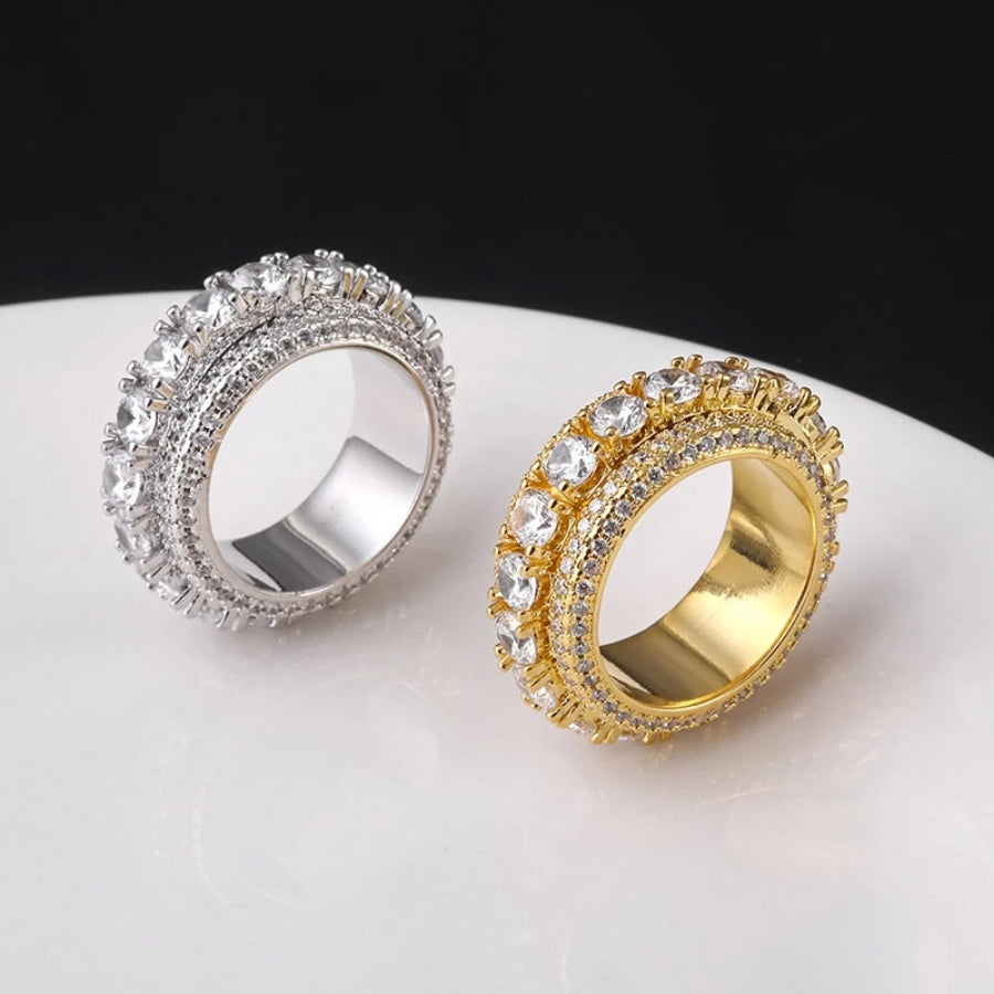 'Diamond Helix' Rotating (Gold/White Gold) Ring - Drip For Men