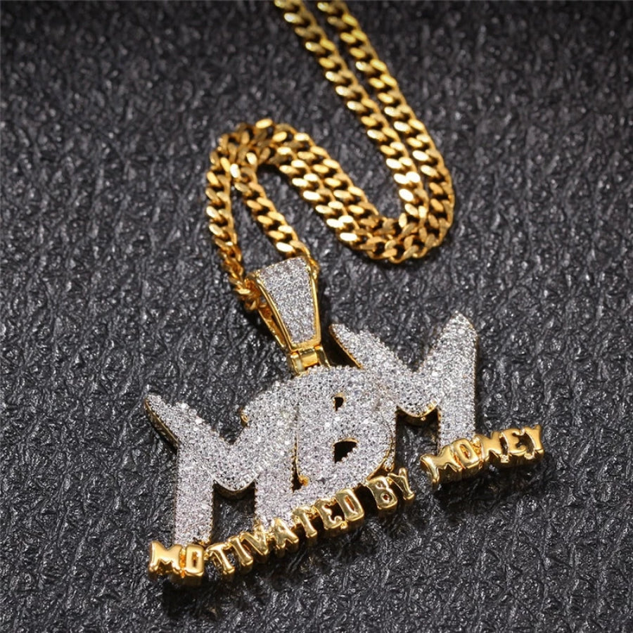 'MBM' Motivated By Money (Gold/White Gold) Pendant - Drip For Men