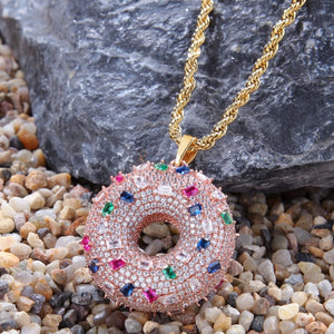 'Dough-Nut' Frosty Rose Gold Jewel Pendant - Drip For Men