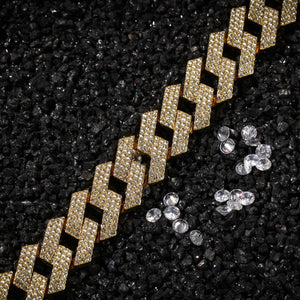 'Cubicon Bracelet' Thick 20mm (Gold/White Gold) Iced Out Prong Bracelet - Drip For Men