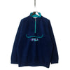 Fila Magic Line Navy Blue 1/4 Zip Fleece circa early 1990's