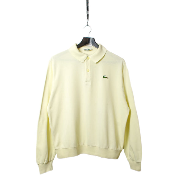 d5c7d1fe44 Chemise Lacoste Long Sleeve Pale Yellow Polo Shirt circa 1980's