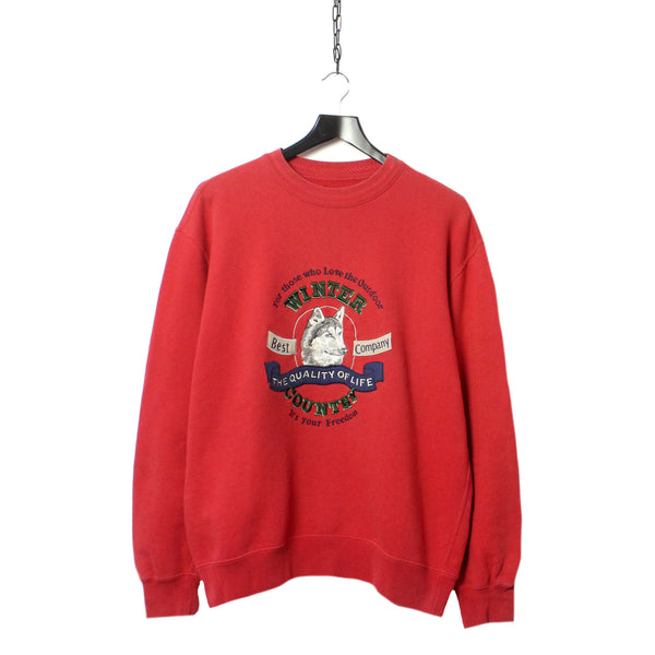 85ef28d6 Best Company Wolf Graphic Embroidered Red Sweatshirt circa 1990's