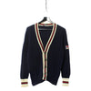 Fila Navy Blue Cable Knit Cardigan circa 1980's