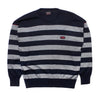 Paul & Shark Navy Striped Crew Neck Knit Jumper circa 1980's