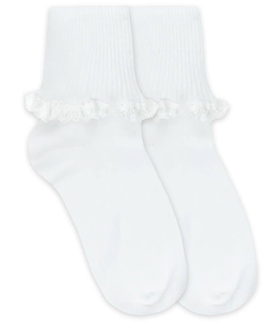 Jeffries Socks Cluny and Satin Lace Cuffed Socks