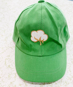 Green Embroidered Cotton Children's Hat