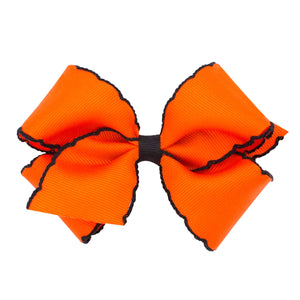 "Moonstitch Grosgrain Bow- Orange and Black (KING 6 1/4"" x 5"")"