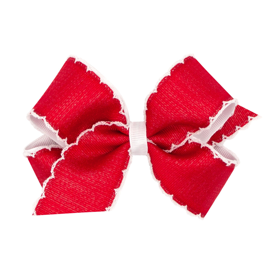 Moonstitch Grosgrain Bow- Red and white (KING 6 1/4