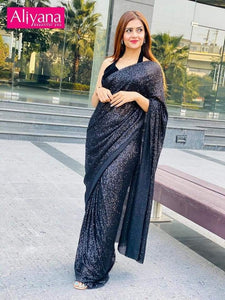 Black Sequin Stitched Saree For Women