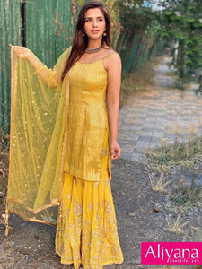 Yellow Sharara Suit For Women