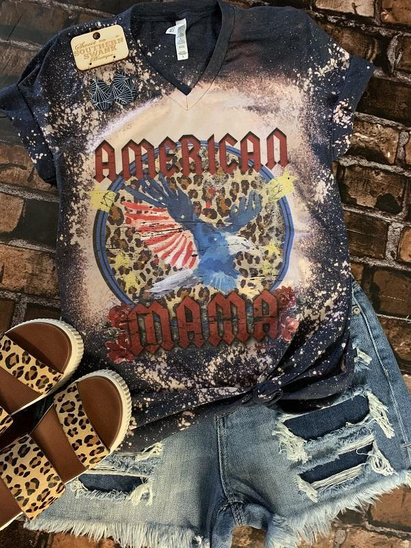 American Mama Distressed Tee - Southern Swank Wholesale