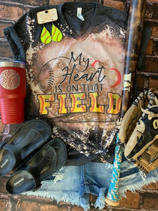 Distressed My Heart Is On That Field- Softball - Southern Swank Wholesale