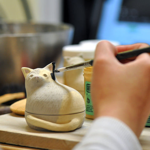 Underglaze cat canopic jar made with ceramic
