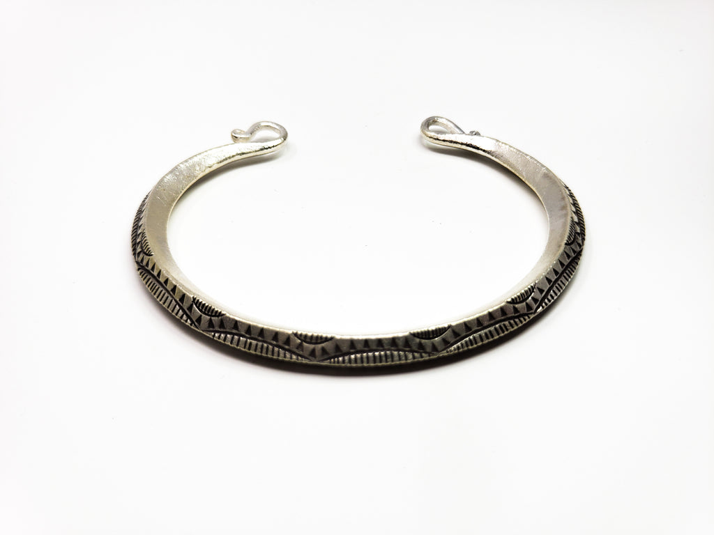 Hand Craved Heavy Silver Cuff Bracelet