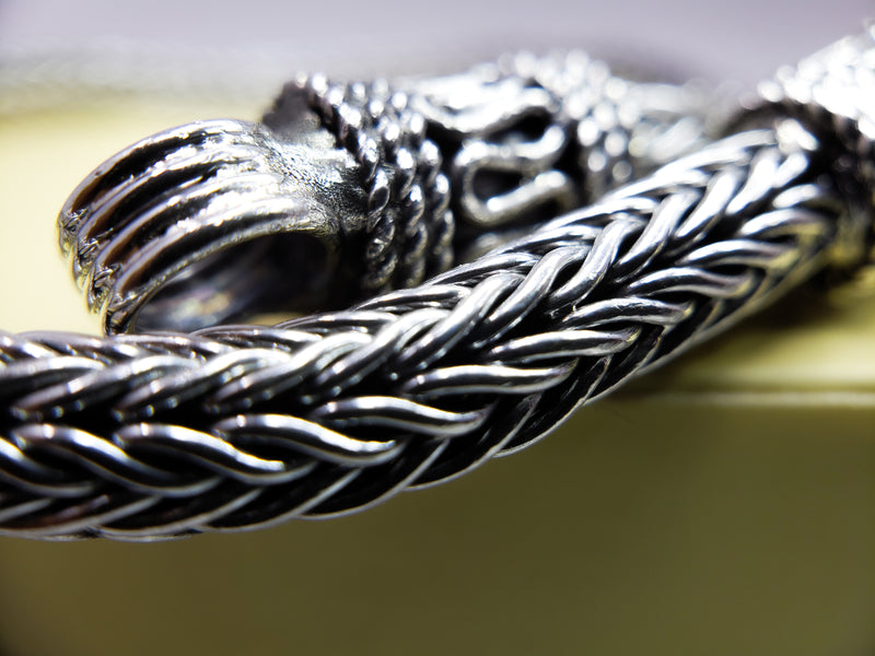 Braided Weaving Chain Sterling Silver Bracelet
