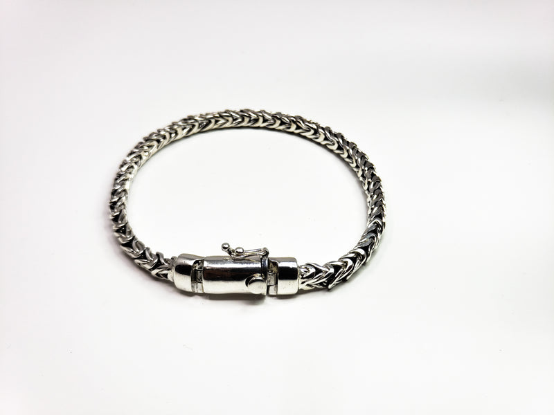 Box Braided Silver Chain Bracelet