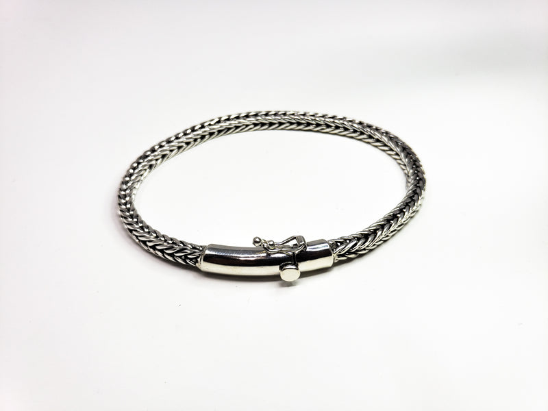Silver Chain Weaved Bracelet with Double Lock