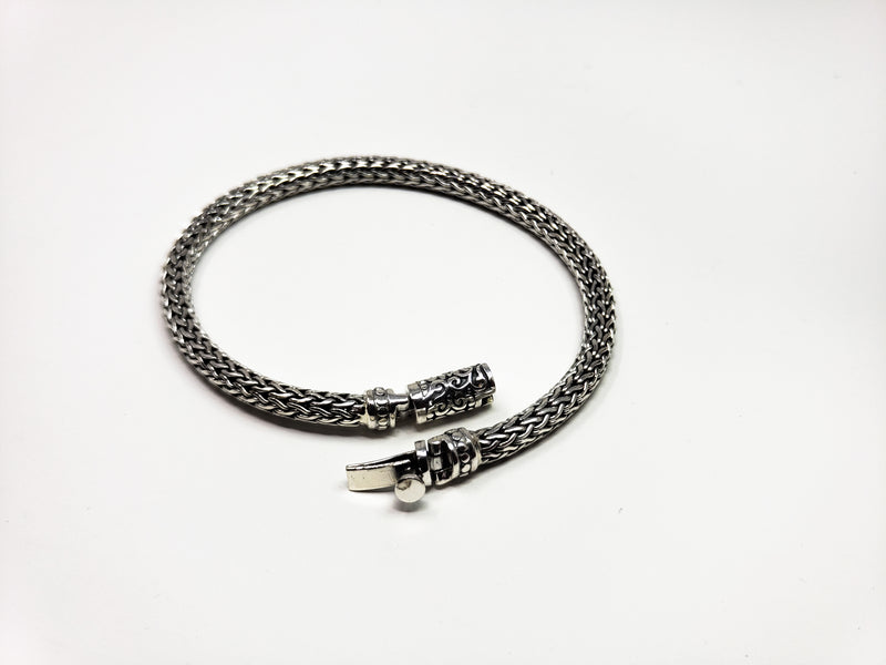 Solid Silver Heavily Braided Chain Bracelet