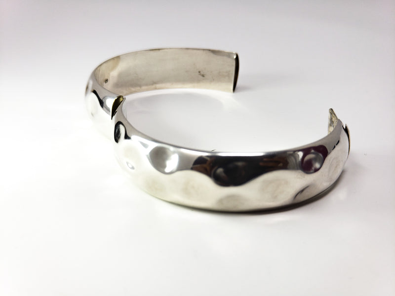 Designer Silver Bangle With Double Lock