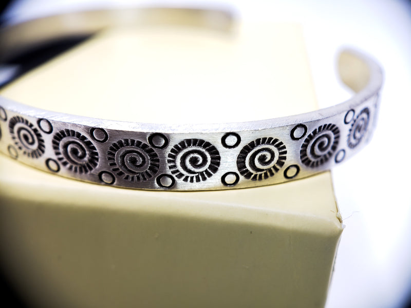 Rusty Abstract Design Silver Cuff Bracelet