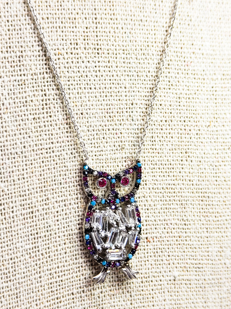 Sterling Silver Owl Pendant With Chain Necklace