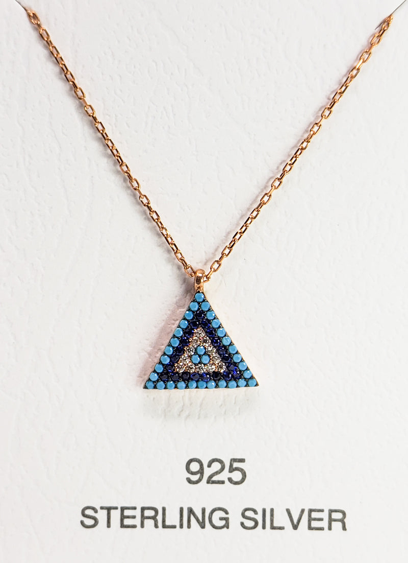Evil Eye Triangle Charm Necklace