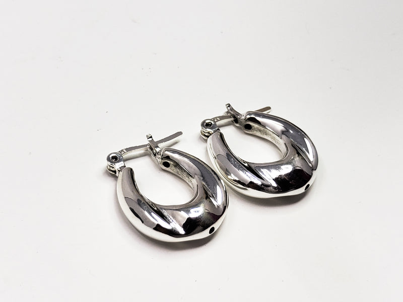 Electroplate Sterling Silver Hoop Earrings
