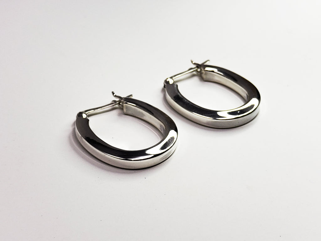 Sterling Silver Horse Shoe Shaped Hooped Earrings