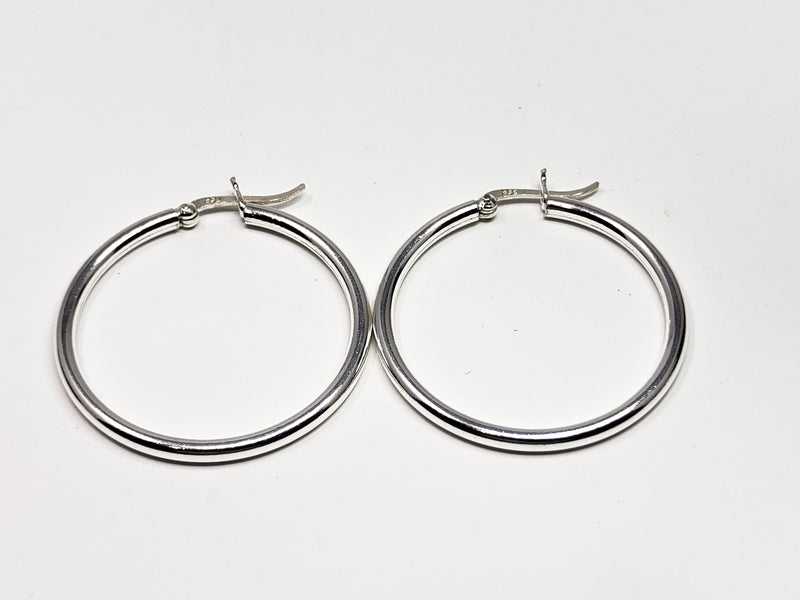 Sterling Silver Large Round Hooped Earrings