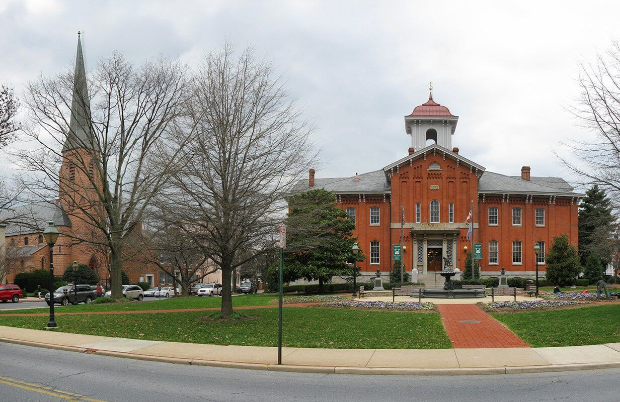 A photo of town hall in Frederick, Maryland where we are based.