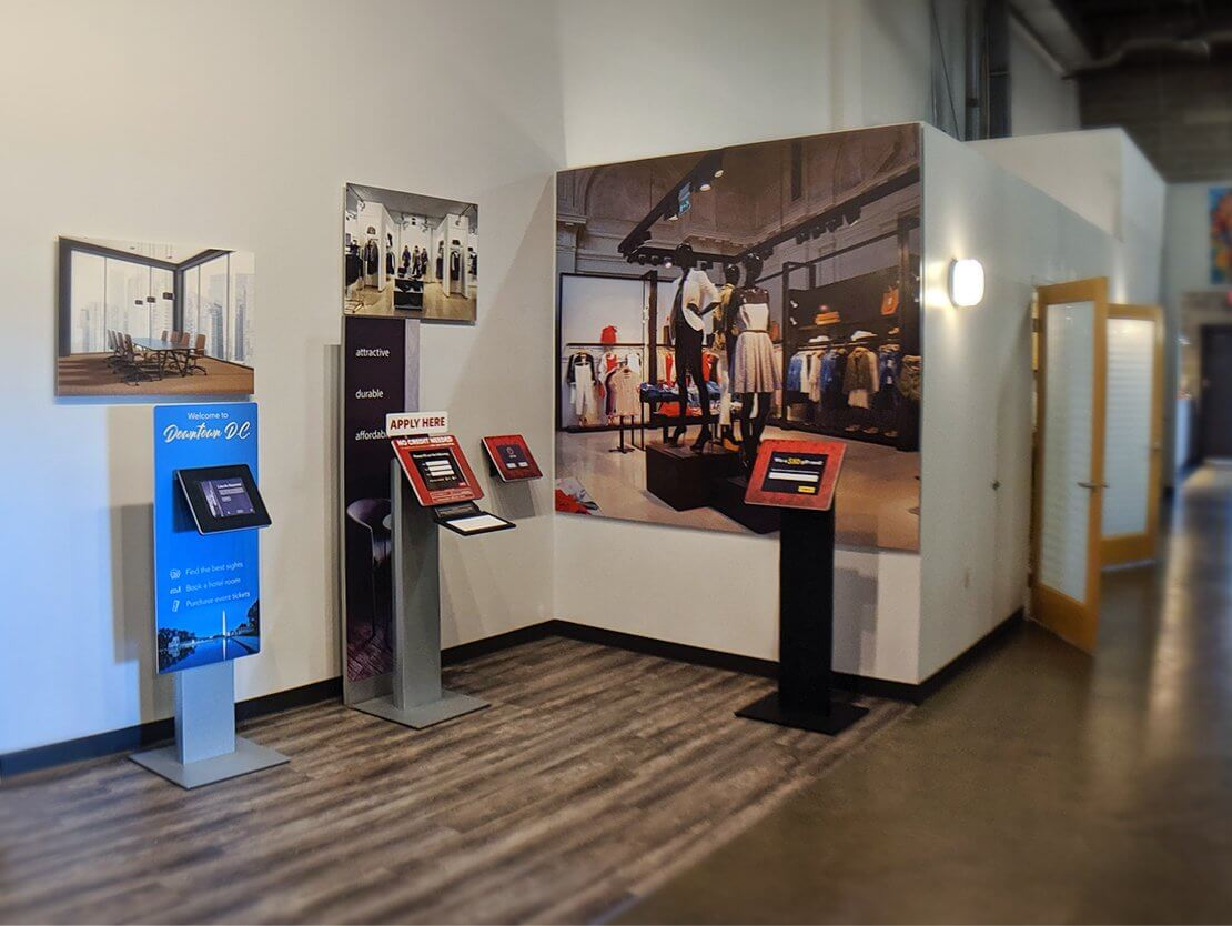 A photo of our office featuring a showcase of our kiosk enclosures.