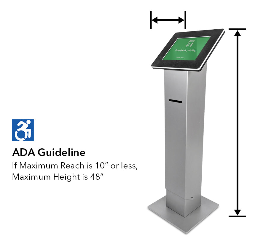ADA Guideline: If maximum reach is 10 in. or less, maximum height is 48 in.