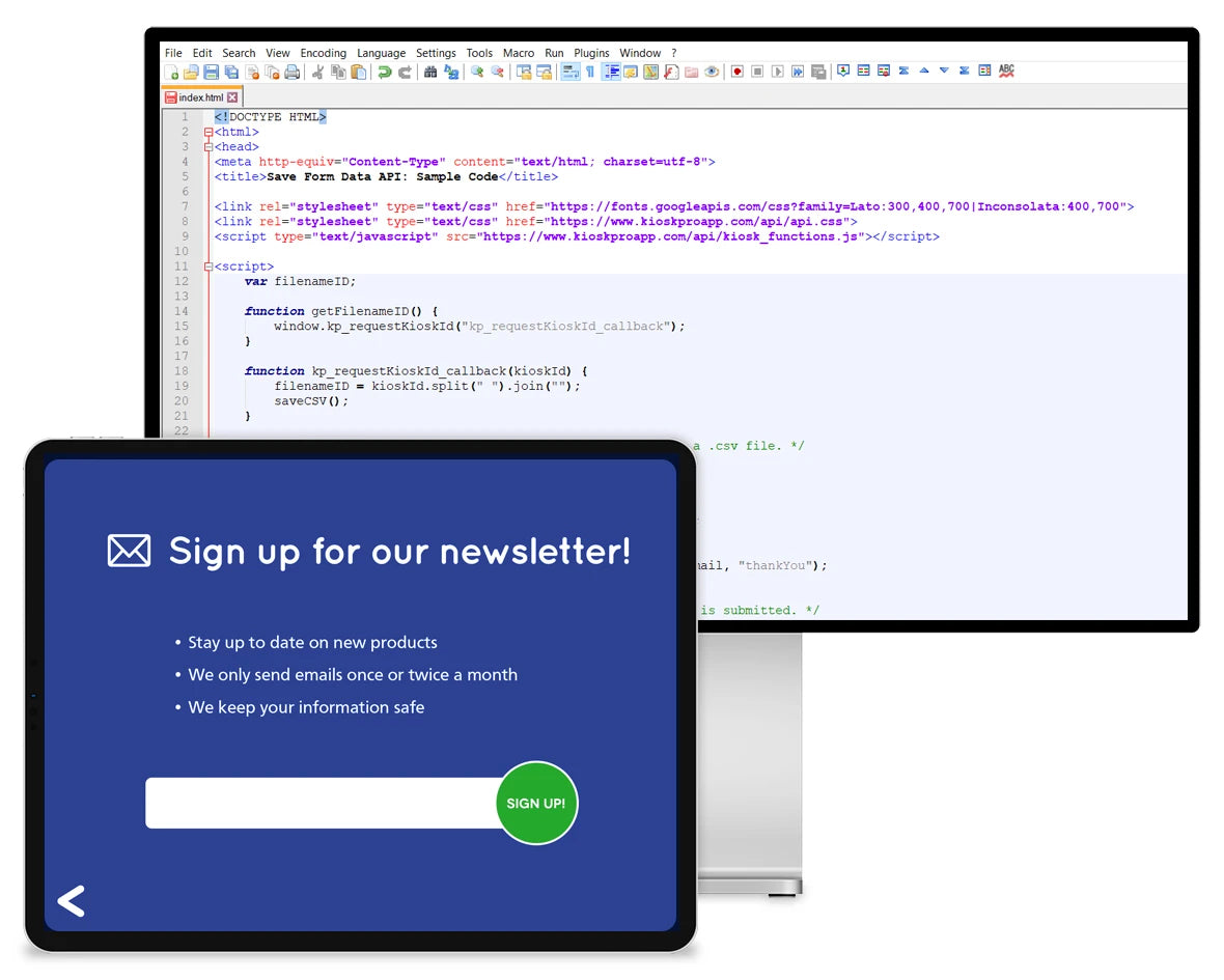 An iPad displaying an email sign up form in front of a computer displaying JavaScript code.
