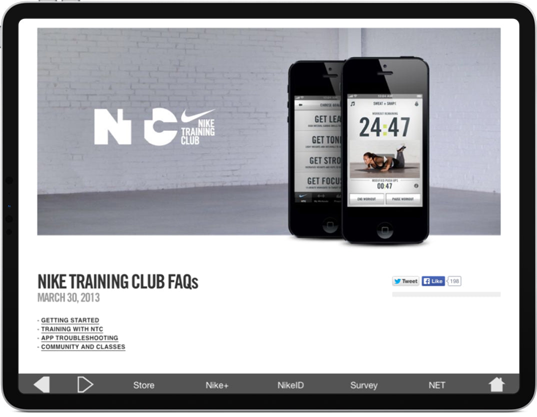An iPad displaying a screen that provides visitors with additional information about Nike.