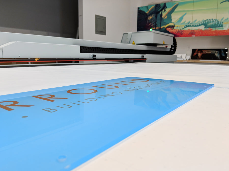 Our Canon printer displaying a finished graphic panel.