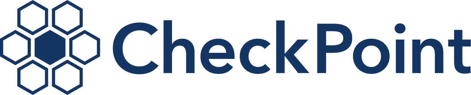 CheckPoint logo, a hexagon grid with the middle hexagon filled.